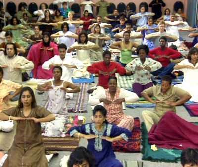 A group kriya in South Africa
